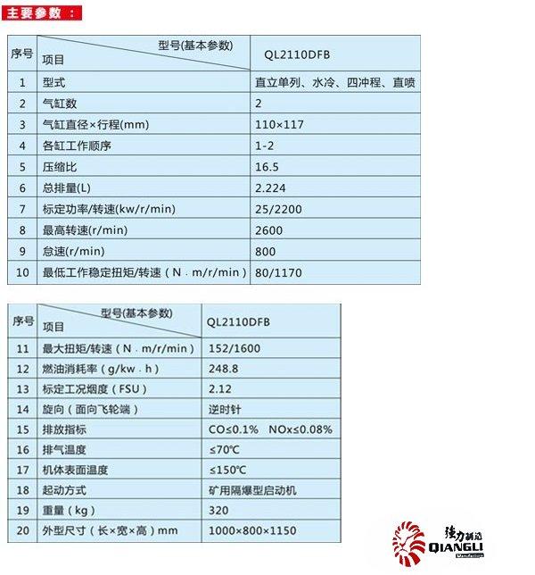 符合国三排放标准的QL2110DFB型vwin德赢网官方下载德赢最新版本下载柴油机的主要参数